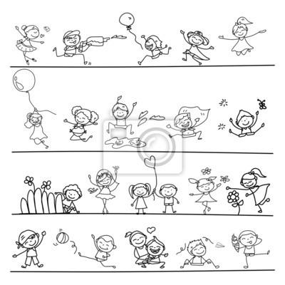 Mao Desenho Dos Desenhos Animados Criancas Felizes Brincando