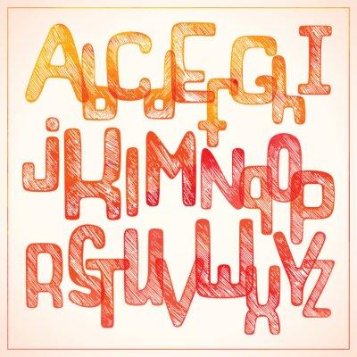 Fotomural Mão escrevendo alfabeto vermelho
