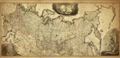 Fotomural Mapa antigo da Rússia, impresso em 1786