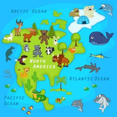 Fotomural Mapa da América do Norte com animais - ilustração do vetor, eps