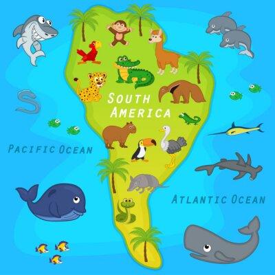 Fotomural Mapa da América do Sul com animais - ilustração do vetor, eps