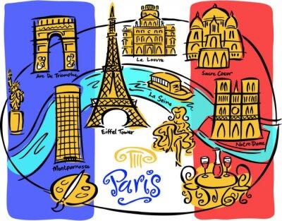 Fotomural Mapa da bandeira de Paris
