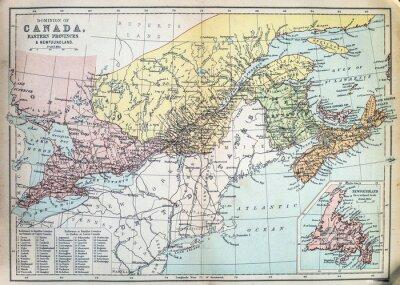 Fotomural Mapa das províncias orientais do Canadá