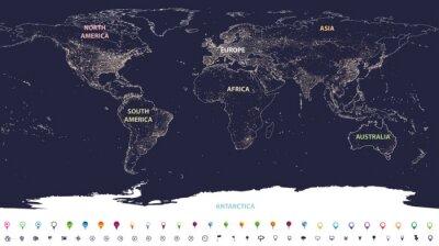 Fotomural Mapa de luzes da cidade mundial com continentes rotulados em diferentes cores e ícones de localização