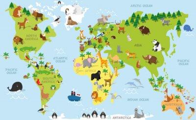 Fotomural Mapa de mundo engraçado dos desenhos animados com os animais tradicionais de todos os continentes e oceanos. Ilustração do vetor para a educação pré-escolar e crianças design