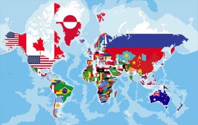Fotomural Mapa de mundo político com bandeiras de país.