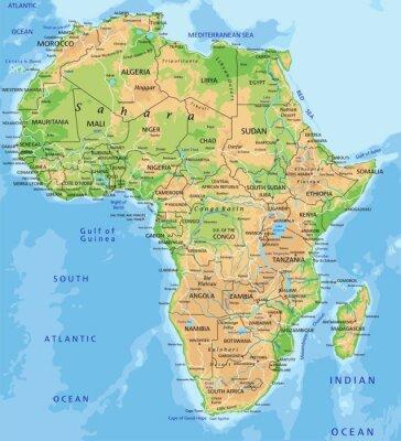 Fotomural Mapa detalhado alta África físico com rotulagem.