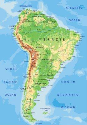Fotomural Mapa detalhado alta América do Sul físico com rotulagem.