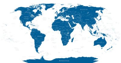 Fotomural Mapa do mundo altamente detalhado