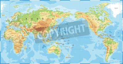 Fotomural Mapa do mundo colorido topográfico físico político pacífico centrado ícone vector.