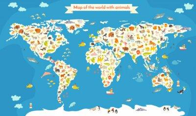 Fotomural Mapa do mundo com animais. Ilustração colorida bonita do vetor. Pré-escola, para o bebê, crianças, crianças e todas as pessoas