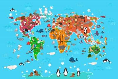 Fotomural Mapa do mundo com animais. Macaco e ouriço, urso e canguru, panda do lobo da lebre e pinguim e papagaio. Animais, mundo, mapa, vetorial, Ilustração, caricatura, estilo