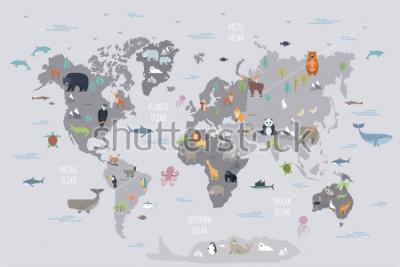 Fotomural Mapa do mundo com animais vivos que vivem em vários continentes e nos oceanos. Mamíferos bonitos dos desenhos animados, répteis, pássaros, peixes que habitam o planeta. Ilustração em vetor de colo