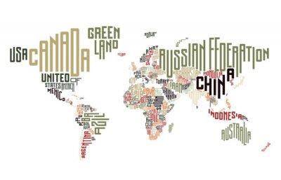 Fotomural Mapa do mundo composto por nomes de países tipográficos
