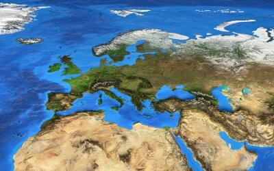 Fotomural Mapa do mundo de alta resolução focado na Europa