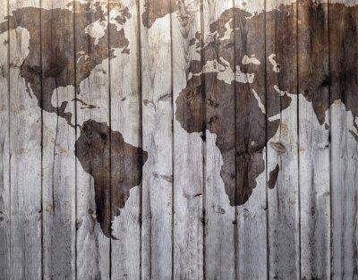 Fotomural Mapa do mundo desenhado em efeito de madeira da lona