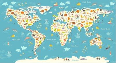 Fotomural Mapa do mundo dos animais. Ilustração colorida alegre bonita do vetor para crianças e miúdos. Com a inscrição dos oceanos e dos continentes. Pré-escolar, bebê, continentes, oceanos, desenhado, terra