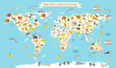 Fotomural Mapa do mundo dos animais. Ilustração colorida do vetor dos desenhos animados para crianças e miúdos. Preschool, Educação, bebê, continentes, oceanos, desenhado, terra