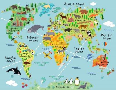 Fotomural Mapa do mundo dos desenhos animados
