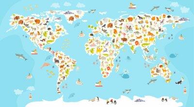 Fotomural Mapa do mundo dos mamíferos. Ilustração colorida alegre bonita do vetor para crianças e miúdos. Pré-escolar, bebê, continentes, oceanos, desenhado, terra
