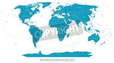 Fotomural Mapa do mundo e ícones de navegação - ilustração.