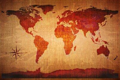 Fotomural Mapa do mundo Grunge denominado