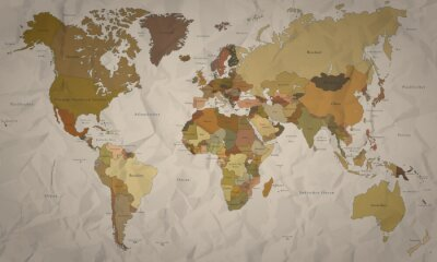 Fotomural Mapa do mundo - História histórica com vista (detalhe)