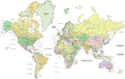 Fotomural Mapa do mundo político altamente detalhado, com rotulagem.