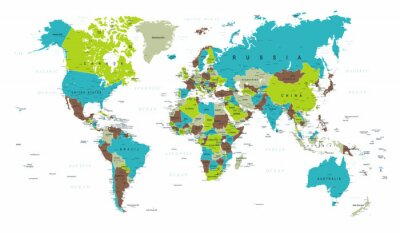 Fotomural Mapa do mundo político azul verde vetor cinza