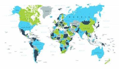 Fotomural Mapa do mundo político azul verde vetor marrom