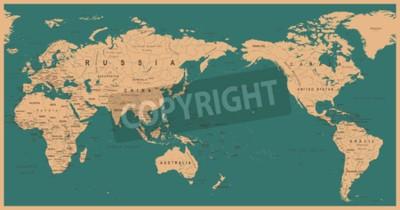 Fotomural Mapa do mundo político do vintage centralizado no Pacífico - vector