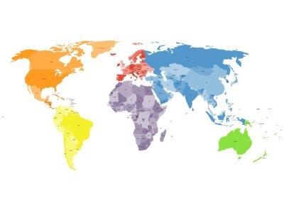 Fotomural Mapa do mundo político no fundo branco.