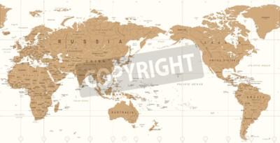 Fotomural Mapa do mundo político vintage pacífico centrado ícone vector.