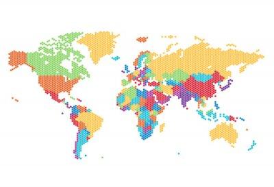 Fotomural Mapa do mundo pontilhado de pontos sextavados