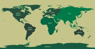 Fotomural Mapa do mundo verde com nomes do continente