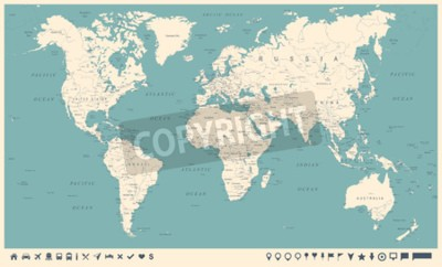 Fotomural Mapa do mundo vintage e marcadores - ilustração vetorial detalhada