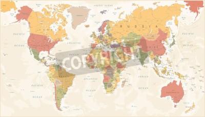 Fotomural Mapa do mundo vintage - ilustração vetorial detalhada