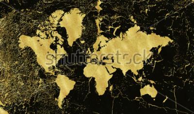 Fotomural Mapa do ouro do vintage no fundo preto. Usar textura, grunge, pátina de ouro. Modelo para cartões, convite de casamento, cartazes, blogs, site e muito mais