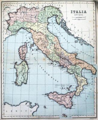 Fotomural Mapa do século XIX da Itália romana