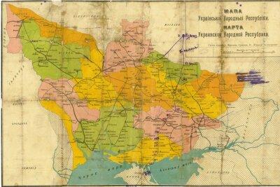 Fotomural Mapa do vintage da Ucrânia