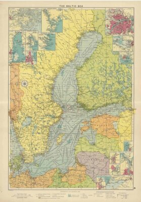 Fotomural Mapa do vintage do Mar Báltico