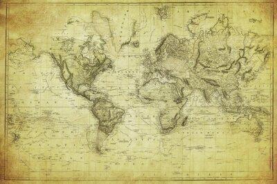 Fotomural mapa do vintage do mundo 1831