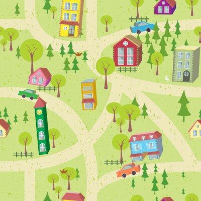 Fotomural Mapa dos desenhos animados teste padrão sem emenda com casas e estradas