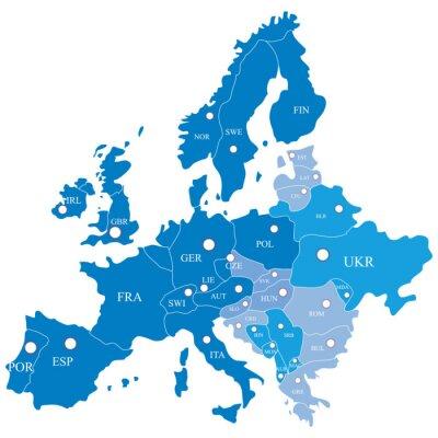 Fotomural Mapa europeu com regiões sobre um fundo branco