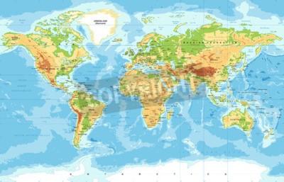 Fotomural Mapa físico mundial do vetor