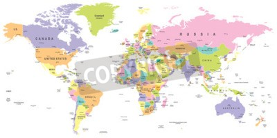 Fotomural Mapa Mundial Colorido - fronteiras, países e cidades - ilustração