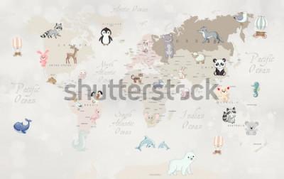 Fotomural Mapa mundial de animais para design de papel de parede infantil