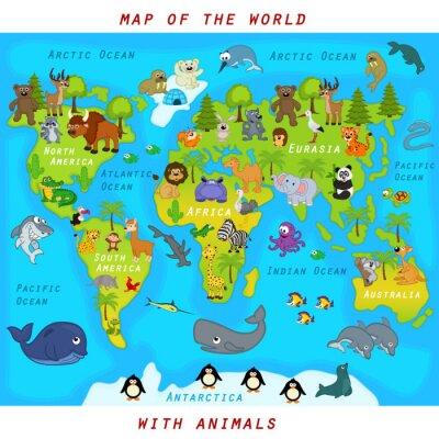 Fotomural Mapa, mundo, animais - vetorial, Ilustração, eps
