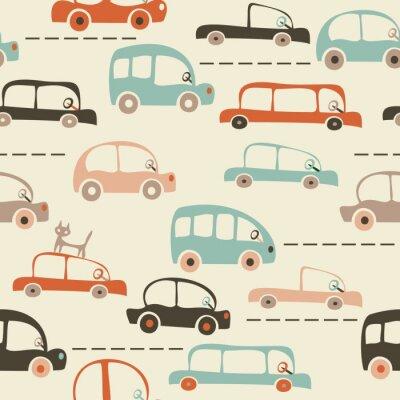Fotomural mapa perfeita caricatura de carros e tráfego