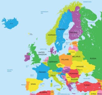 Fotomural Mapa político da Europa elevado detalhe